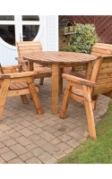 Four Seater Circular Table Set. All furniture is handcrafted in the United Kingdom, using quality timber from sustainable sources and is fully assembled. No tools required